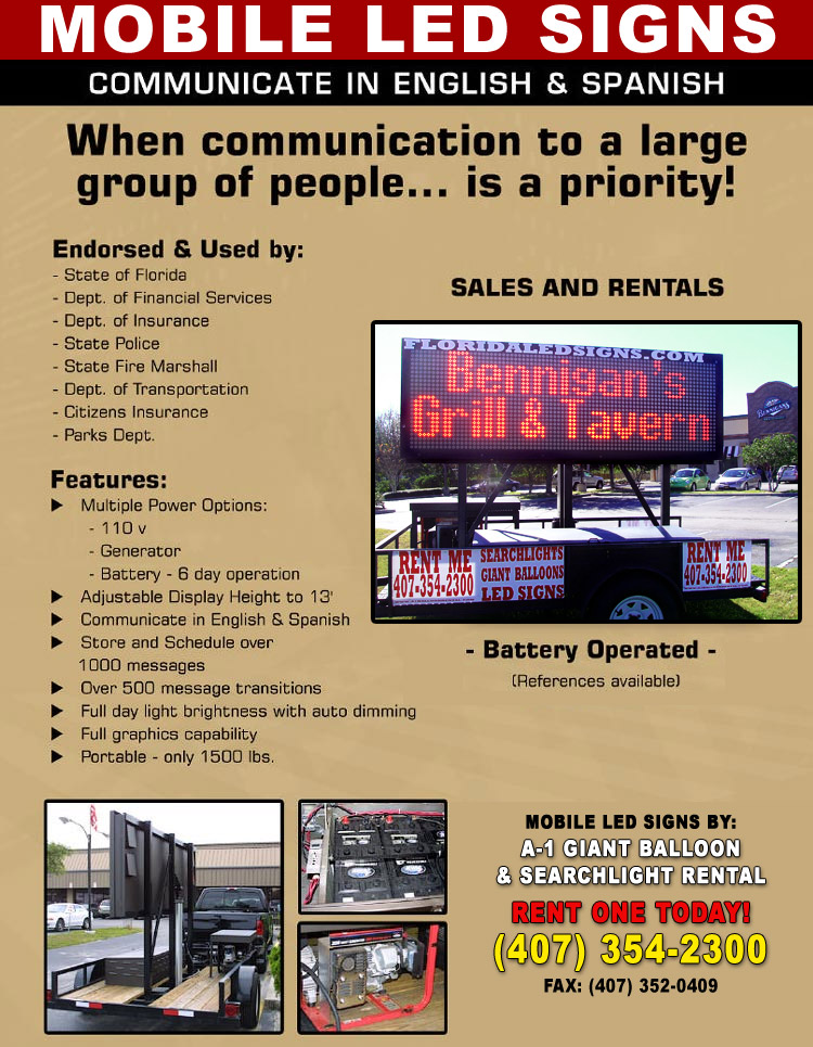 Florida L.E.D. Sign Rental Companies, Rent LED signs, Mobile signage. Florida Hurricane protection! Advertising displays Tampa Bay Florida Orlando FL